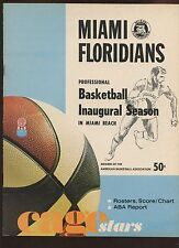 1968/1969 ABA Basketball Program Los Angeles Stars at Miami Floridians EXMT