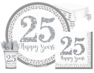 25th Silver Wedding Anniversary Party Plates Cups Napkins Tablecover Decorations