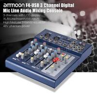 F4-USB 3 Channel Digital Mic Line Audio Mixing Mixer Console+48V Phantom Power
