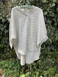 Masai White Striped Cotton Oversized Blouse XS