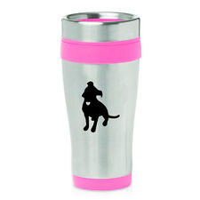 Stainless Steel Insulated 16oz Travel Coffee Mug Cup Cute Pitbull with Heart