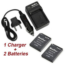 Refuelergy 2x BATTERIES + CHARGER for NIKON EN-EL12 Coolpix S1200PJ S70