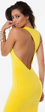 yellow cut out back bodycon dress sexy clubwear midi Boutique