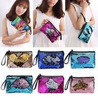 Women Girls Sequins Mermaid Glitter Handbag Make-up Clutch Bag Wallet Purse ~
