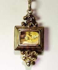 """Antique 14K Gold Scottish Thistle & Carnelian Cabochon Pendant 1.5"""" - 10058"""