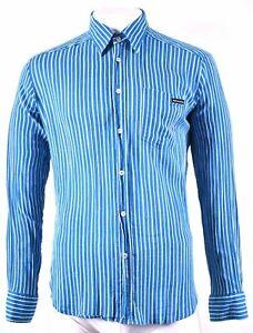 DOLCE & GABBANA Mens Shirt XL Blue Striped Cotton GG01