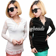 Unbranded Lace Long Sleeve Solid T-Shirts for Women