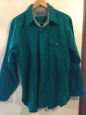 VINTAGE PENDLETON GREEN LEATHER ELBOW PATCH TRAIL SHIRT MENS LARGE 100% WOOL