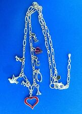 """Sterling Silver Enamel Heart Wishbone Dove Charm Chain Necklace 1/2x18"""" ae"""
