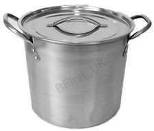 Deep Stainless Steel Stock Soup Pot Pan Saucepan Cooking Stew Catering Casserole
