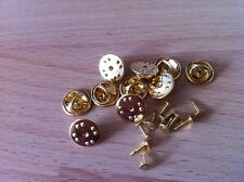 10 x GOLD BRASS Coloured METAL HAT PIN BACKS & TACS lapel pins Butterfly Clasp