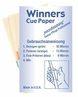 QUALITY WINNERS DIAMOND GRIT POOL / SNOOKER CUE CLEANER PAPERS (S293)