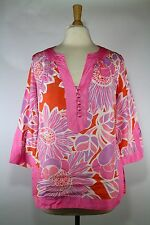 Banana Republic Orange Pink Floral Silk Tunic Top V-Neck M Medium Womens