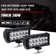 "2x 7 INCH 36W LED WORK LIGHT BAR FLOOD OFFROAD ATV FOG TRUCK LAMP 4WD 12V 6"""