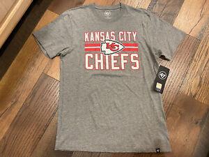 Kansas City Chiefs NFL Men's '47 Gray Short Sleeve Shirt Medium  ~ NWT