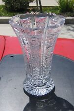 Vintage Val St. Lambert? Cut Crystal 6 Sided Footed Vase