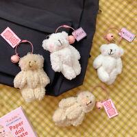 Women Cartoon Plush Bear Rabbit Keychain Pompom Trinkets Bag Car Key Ring