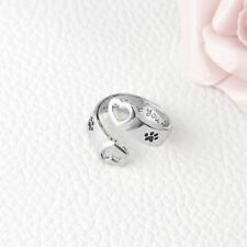 Around Hollow Heart Hand Stamped Love Pet Memorial Jewelry Rings Personalized
