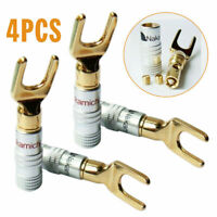 4PCS Banana Plug Gold Plated Screw Type Audio Speak Wire Cable Connector Y Spade