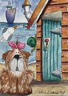 ACEO Contemporary Original Modern Watercolour Painting Beach Hut~Dog~Ladybug