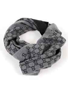 Gucci Anthracite Double Jacquard GG Wool Scarf