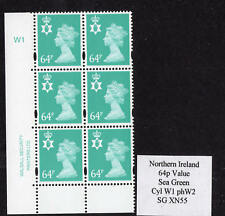 Northern Ireland 64p Sea Green Cyl W1 phos W2 above UM