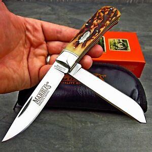 Marble's Genuine Stag Bone Handles Jumbo 2 Blade Trapper Folding Pocket Knife