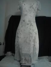 Rockmans Ladies Dress in White with Sheer Black and White Floral Overlay Size10
