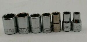 "7 Craftsman Vintage Sockets 1/4"" drive U.S.A  1/2 "" -  7/32 """
