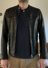 Mens Black Leather Motorcycle Biker Cafe Racer Jacket - Med
