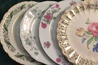 """Vtg Mismatched China Dessert Cake Bread Plates~ Set of 4~ Florals 6 1/4""""-6 1/2"""""""