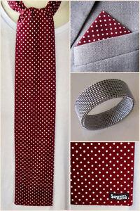 SUPERNOVA Burgundy Polka Dot: Mod Scarf Skinny Tie Neckerchief Handkerchief Ring