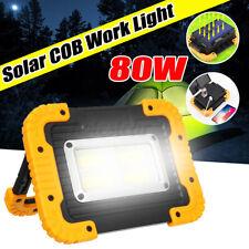 80W LED COB Solar Work Light USB Rechargeable Emergency Flood Lamp Portable