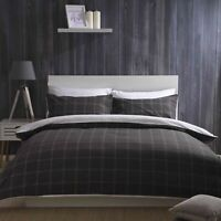 100% Brushed Cotton Check Duvet Cover Set Charcoal Grey & White Single Bed Size