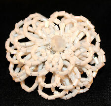White Seed Bead Floral Power Flower Unique Giant Poof Fashion Stretch Ring 6 7 8