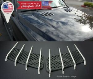 1 Pair Euro Hood Engine Vent Grille Grill Louver Scoop Cover Panel For Dodge USA