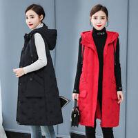 New Women Winter Sleeveless Vest Down Cotton Hooded Long Jacket Gilet Size L-5XL