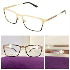NEW AUTHENTIC GUCCI GG0135O 005 55-19-140 GOLD/BLACK EYEGLASSES FRAMES