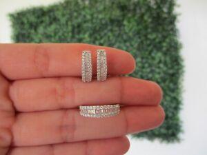 1.00 CTW Diamond Earrings & Ring Set 18k White Gold JS32 sep