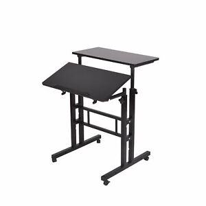 Mind Reader Multipurpose Home Office Computer Desk, Mobile Sit and Stand Desk, W
