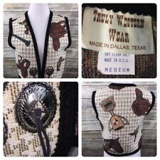 Truly Western Wear Women's Sz M Vest Equestrian Cowgirl Concho Riding Cotton USA