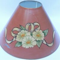 Vintage Lamp Shade Toleware Metal Floral Ribbon Chamomile Daisy's Table