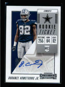 DORANCE ARMSTRONG JR 2018 PANINI CONTENDERS ROOKIE TICKET AUTOGRAPH RC AN941