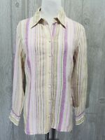 Coldwater Creek Womens Striped Long Sleeve Button Front Career Shirt Top Sz S