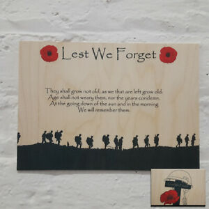 Flanders Field Poppy Remembrance Printed Wooden Wall Plaque Lest we forget Gift
