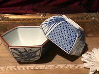 "2 Asian Porcelain Blue & White Floral Rice Bowls w/Brown Rim 4 5/8""x2 1/4"""
