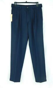 NWT Haggar Men's Navy Dress Pants 34Wx34L Pleated Front Microfiber Comfort Waist