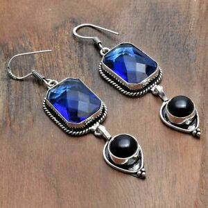 "Tanzanite Black Onyx Handmade Drop Dangle Earrings Jewelry 2.56"" AE 46398"