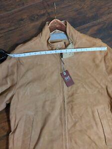 Hickey Freeman Suede Leather Beige Tan Barracuta Bomber Jacket Mens XL Xlarge