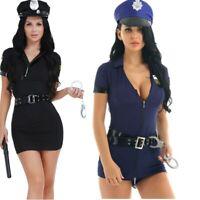 Sexy Women Adult Police Office Uniform Set Halloween Cosplay Fancy Dress Costume